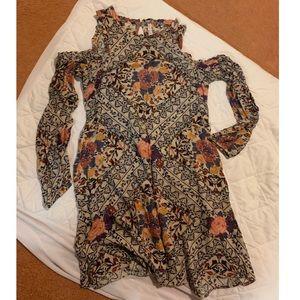 Floral Cut-Out Shoulder Dress
